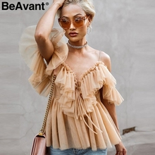 BeAvant Off shoulder damskie topy i bluzki lato 2019 Backless sexy top peplum kobieta falbana w stylu Vintage mesh bluzka koszula blusas