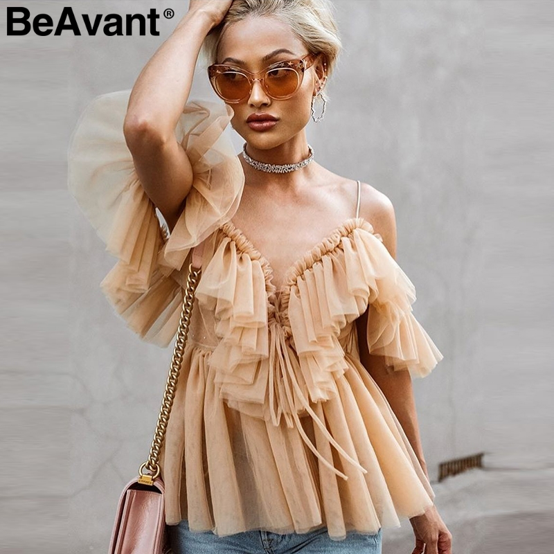 Mesh Blouse Shirt Top Peplum Backless Beavant Ruffle Sexy Vintage Female Off-Shoulder title=