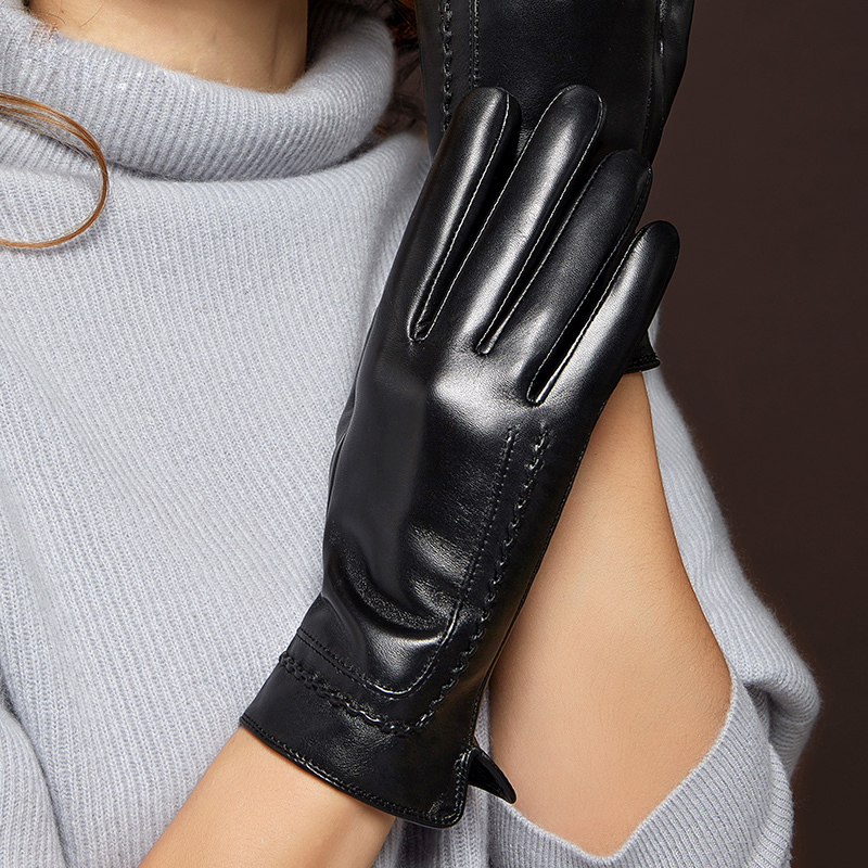 Genuien Leather Gloves Keep Warm Thicken Woman's Sheepskin Gloves Winter Driving Touchscreen Female Leather Mittens MLZ036