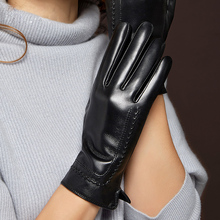 Genuien Leather Gloves Keep Warm Thicken Womans Sheepskin Winter Driving Touchscreen Female Mittens MLZ036