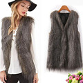 2016 New Designer Women Fur Vest Autumn Fashion Woman Waistcoat Slim Fit Plus Size S XXXL