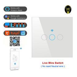 Przełącznik Tuya wifi ue 10A pojedynczy drut przeciwpożarowy przełącznik ścienny inteligentny czasomierz przełącznik dotykowy sterowanie głosowe kompatybilny Alexa Google IFTTT w Inteligentny pilot zdalnego sterowania od Elektronika użytkowa na