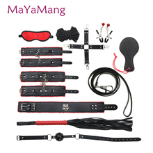 10 Pcs/Set Sex Toy for Couples Adult Game Handcuffs Nipple Clamps Whip Collar Erotic Toy Leather Sex bdsm Bondage Restraint