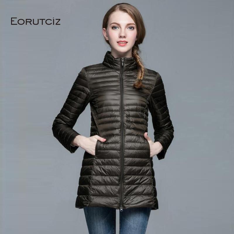 EORUTCIZ Winter Plus Size 4XL Down Coat Women Ultra Light  Long Jacket Slim Vintage Casual Spring Duck Down Coat LM361