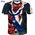 New Casual Men 3D T Shirt Short Sleeve Personality Wound Digital Printing Summer Europe and America Hot Tops