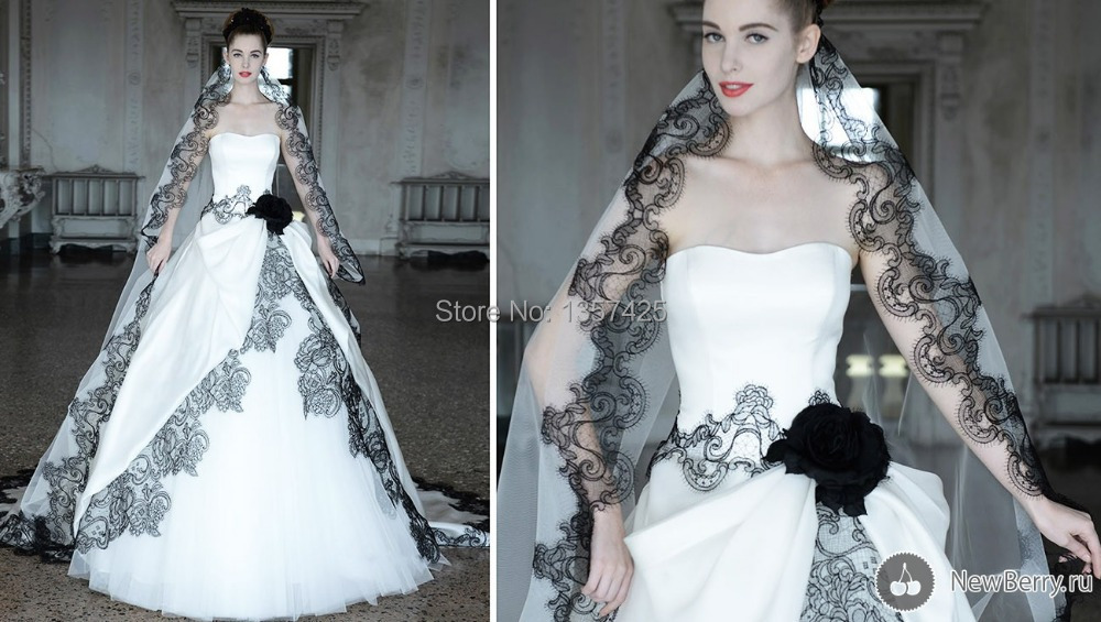 New Fashion Black And White Lace Sweetheart Ball Gown Wedding Bridal Dresses With Veil Salomon Tulle Z2186 In From Weddings Events On