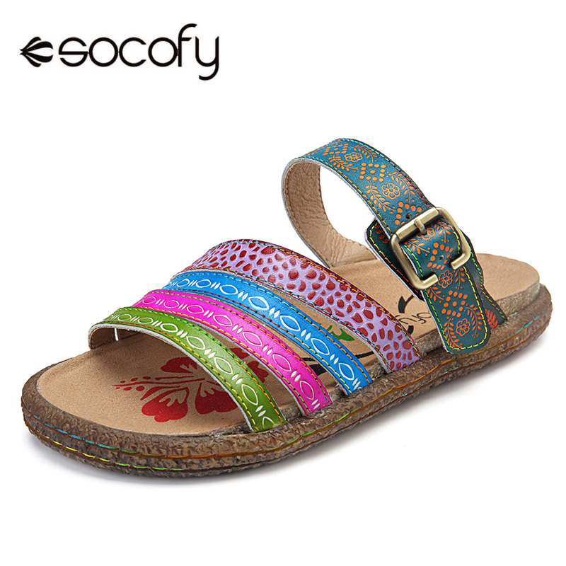 Socofy Retro Genuine Leather Flat Slippers Women Shoes Beach Summer Adjustable Buckle Casual Slippers Ladies Shoes Woman Slides