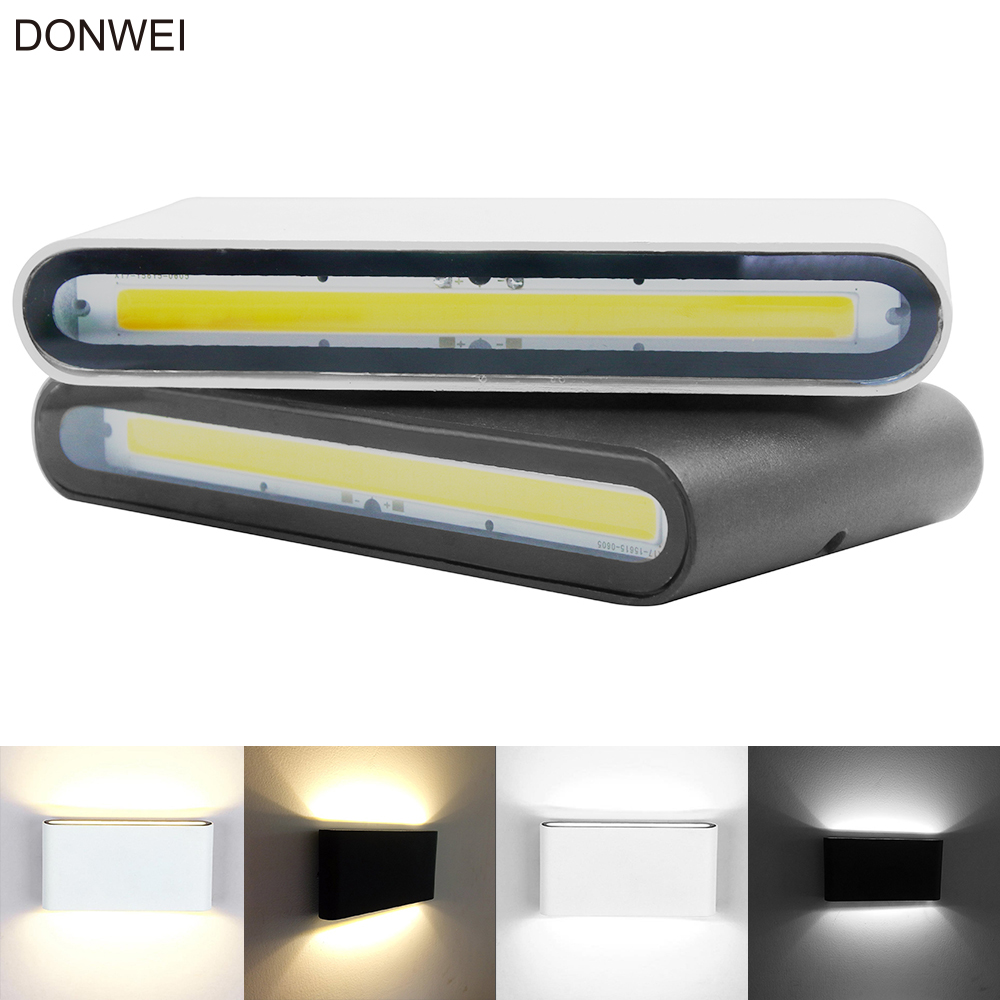 Outdoor Waterproof IP65 6W 12W COB LED Porch Lights Modern Indoor Decor Up Down Dual-Head Aluminum Wall Lamp AC85-265V