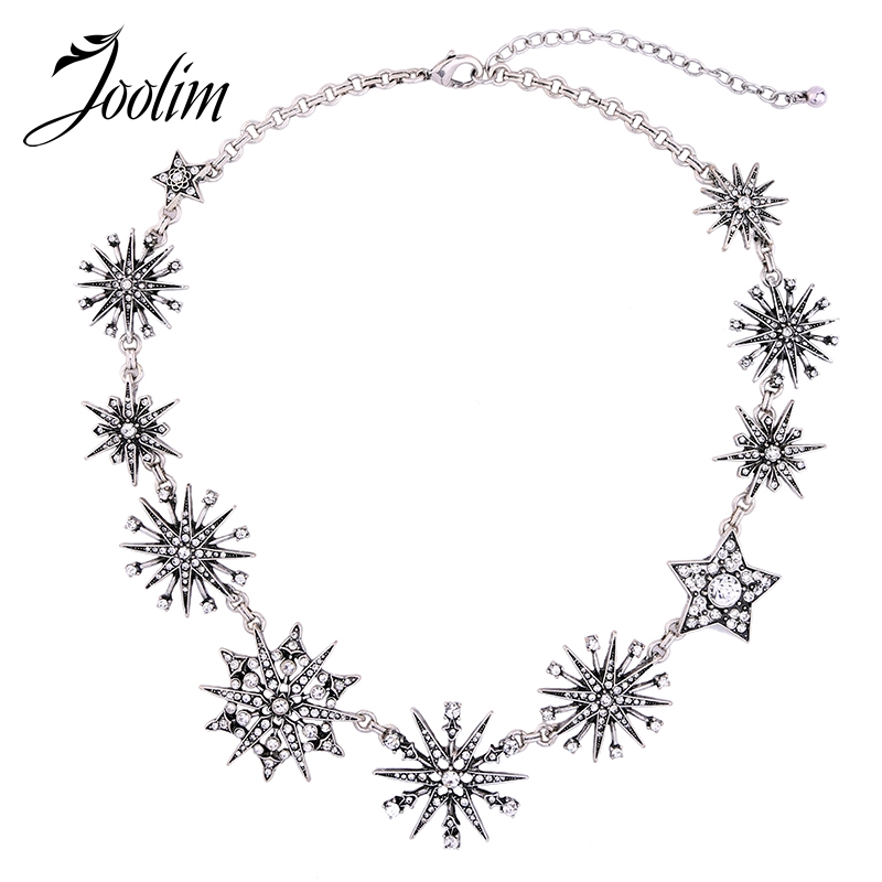 JOOLIM Jewelry Wholesale/2017 Gorgeous Trendy Starburst Collar Necklace Snowflake Short Necklace Collier Women