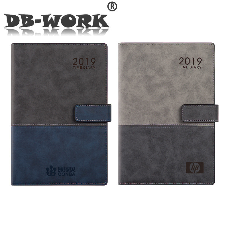 Simple business color matching schedule 2019 notebook day plan one page per day note book with pen insertionSimple business color matching schedule 2019 notebook day plan one page per day note book with pen insertion