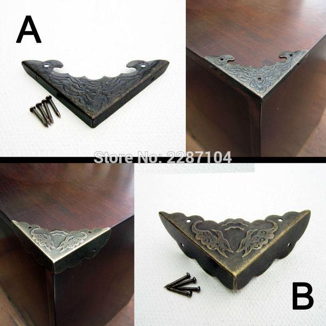 12 piezas decoración latón antiguo joyería caja del pecho caja de ...