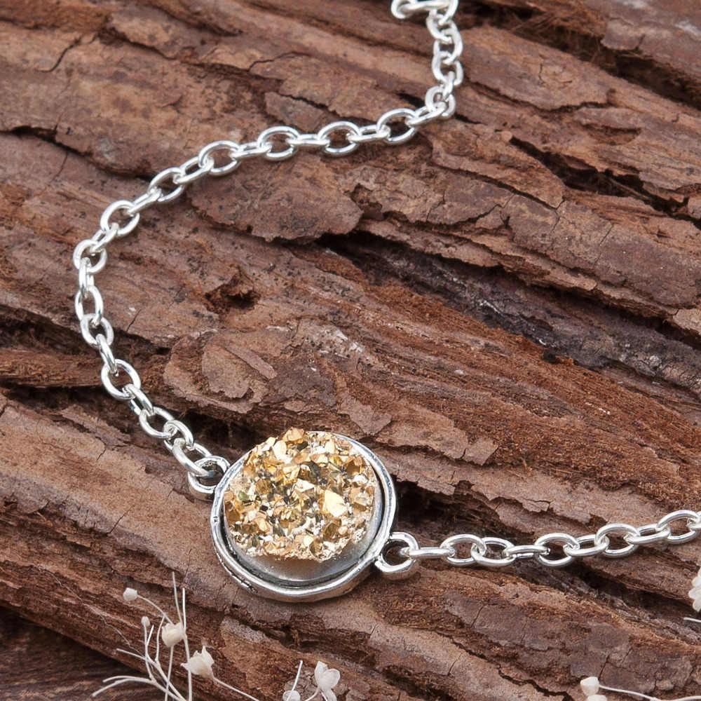 "DoreenBeads resina drusa/drusa elegante pulseras de mujer plata antigua conector redondo 8 colores brillo 17cm (6 6/8 "") largo 1 pieza"