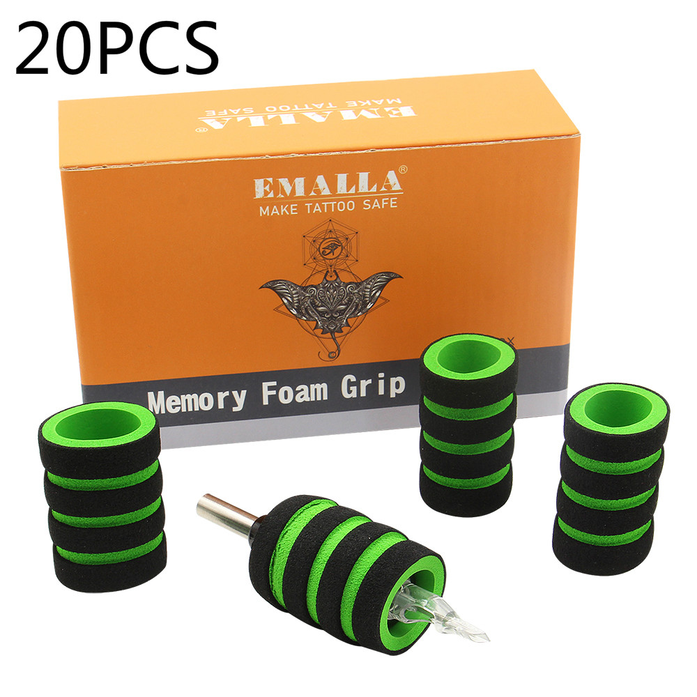 EMALLA 20 Pcs 22mm Memory Foam Tattoo Grip Covers For Any Stainless Steel And Disposable 1