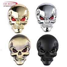 Halloween 3D Metal Skull Car Sticker Cool Motorcycle Truck Emblem Decals Racing Badge Auto Decoration Car Styling Accessories(China)