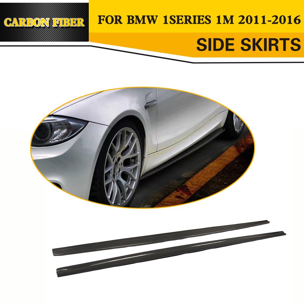 E82 M tech Carbon Fiber Racing Auto Side Skirt Body Apron untuk BMW 1 Series 1M Coupe Sedan 2011-2016