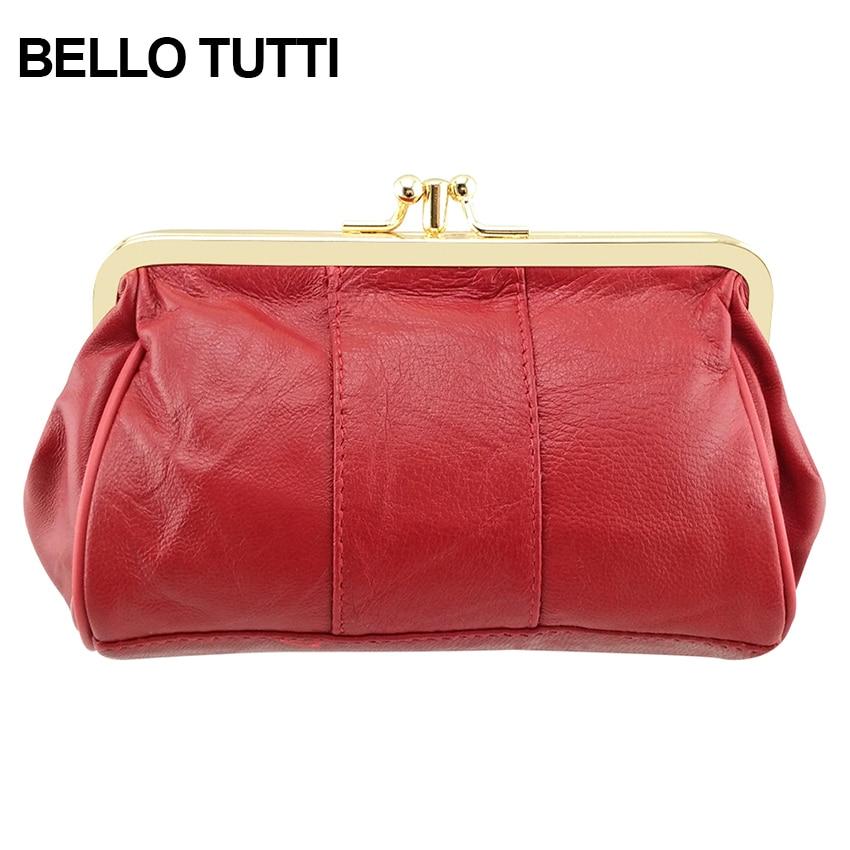 BELLO TUTTI Genuine Leather Women Purse Soild Color Coin Purse Kiss Lock Sheepskin Change Purse Card Holder Leather Wallet