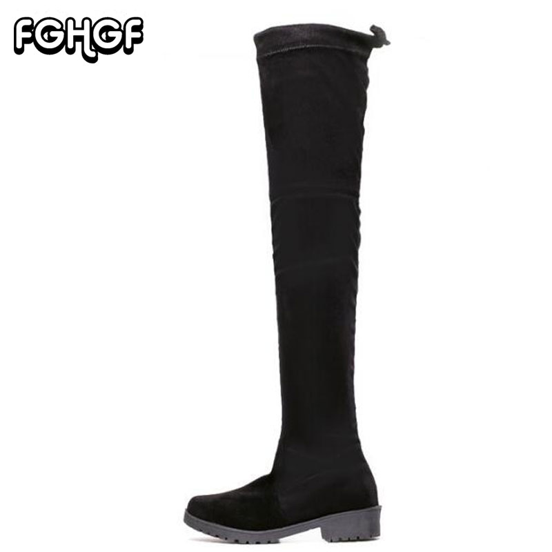 New womens fashion snow boots Sexy PU leathe Slim Boots Over The Knee Boots Black Round Toe Woman Motorcycle Boots female M283