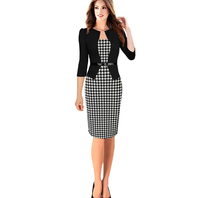 Women Dress Suit Plus Size Xxxxl Elegant False Two Pieces Bodycon