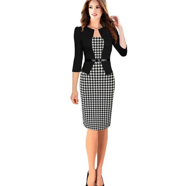 0abe907a6bb Women Dress Suit Plus Size xxxxl Elegant False Two Pieces Bodycon Knee  Length Formal Autumn Executives