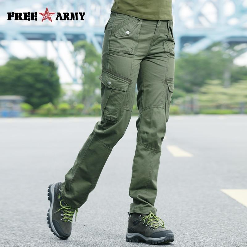 Image 4 - FreeArmy Brand Autumn Pants For Women Army Pants Military  Sweatpants Pockets Cargo Pants Straight Trousers Womens ClothingPants