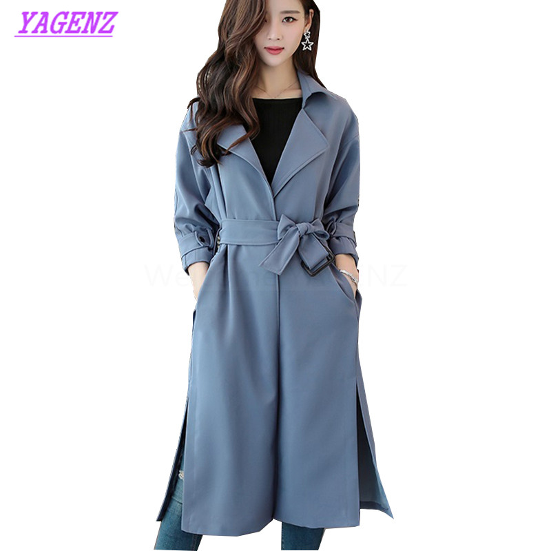 New Autumn Winter Windbreaker Coat Women Korean Long   Trench   Coat Young women Slim Fashion Haze blue Skirt type Overcoat B285
