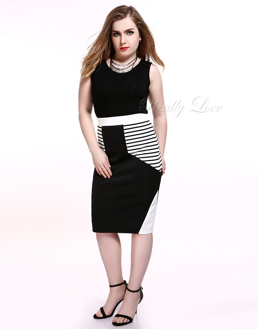 57f23de883a7e Cute Ann Women s Plus Size Midi Striped Skirt Black And White Cocktail  Party Casual Pencil Skirt Summer Spring Wear-in Skirts from Women s  Clothing on ...