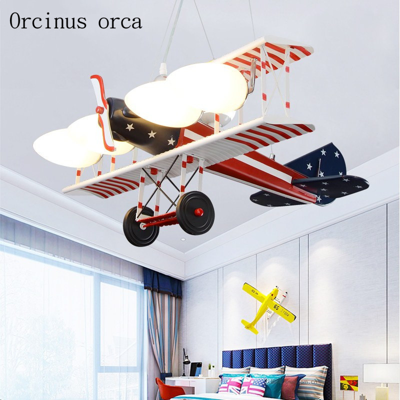 American retro led aircraft chandelier child bedroom boy bedroom creative personality cartoon fighter Chandelier free shipping children s room creative fighter chandelier boy bedroom cartoon led airplane chandelier free shipping
