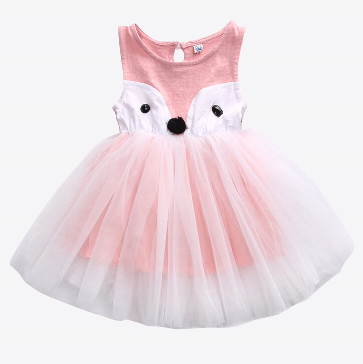 Summer Princess Baby Girls Cute Party Pageant Dresses Toddler Kids Fox Girl Dress Sleeveless Ball Gown 0-5Y newborn girls dresses 2017 new summer sleeveless baby girl lace dress ball gown kids dress princess girl children clothes 3ds092