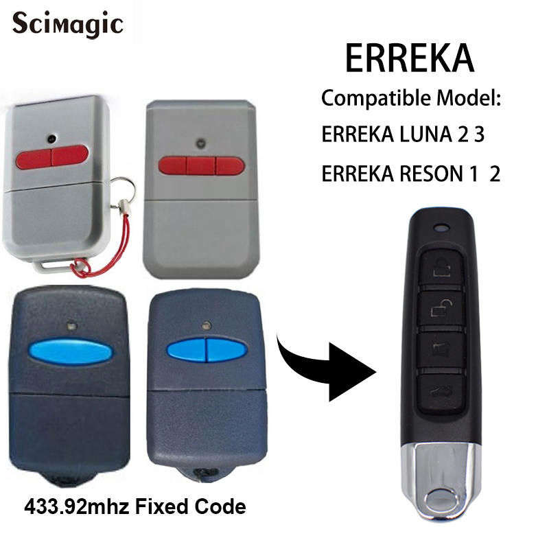 ERREKA LUNA Garage Door/ Gate Remote Control Duplicator 433mhz ERREKA RESON Garage Command 433.92 Handheld Transmitter