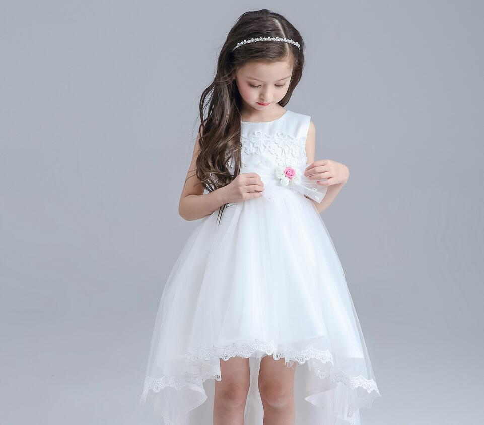 1PC Sleeveless Rose Flower Bowknot Lace Little Girls Birthday Party ...