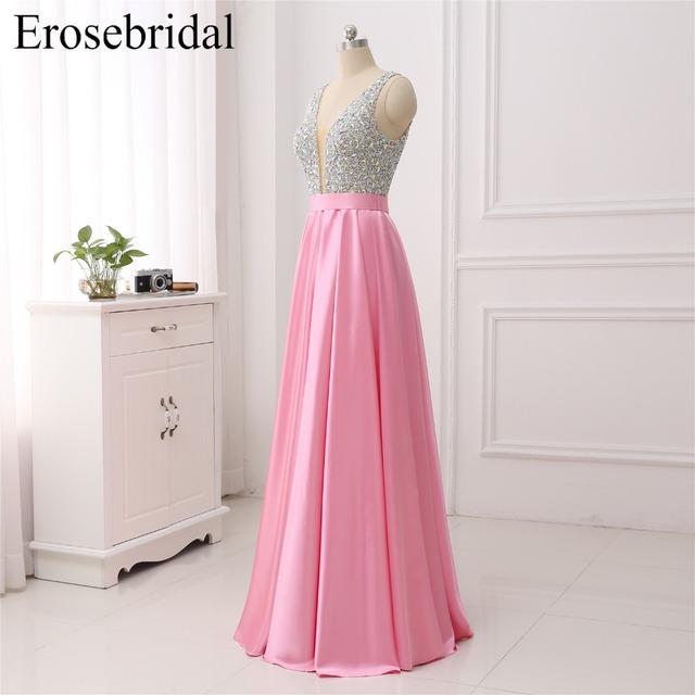 Erosebridal V-Neck Beads Bodice Open Back A Line Long Evening Dress Party Elegant Vestido De Festa Fast Shipping Prom Gowns