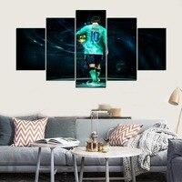 Estrelas do futebol Pinturas Da Lona Arte Da Parede Um Set 5 Peças Jogador de Futebol Imagens Modulares HD Imprime Cartazes Esporte Casa Decorativo