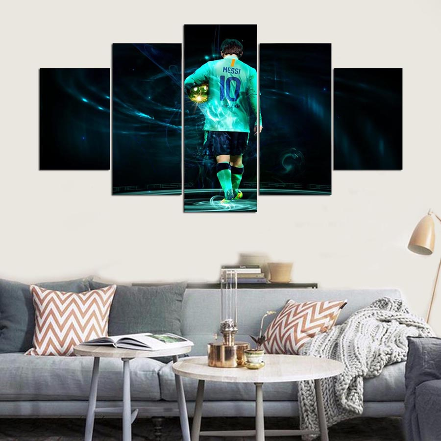 football stars Canvas Paintings Wall Art One Set 5 Pieces Soccer Player Modular Pictures HD Prints Sport Posters Home Decorative|canvas painting|modular pictures|wall art - title=