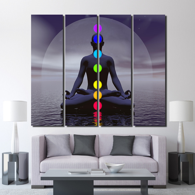 4 teile satz gerahmte hd gedruckt meditation zen buddhismus wandkunst leinwand bilder f r. Black Bedroom Furniture Sets. Home Design Ideas