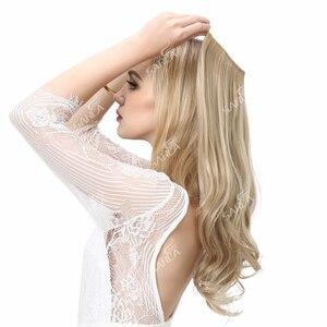 Image 1 - SARLA Extensions de cheveux synthétiques Halo, postiches avec fils cachés, bandeau Secret, sans Clip, sans bande, 10 pièces, 14 pouces, 16 pouces, 18 pouces
