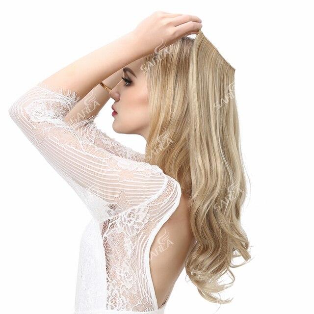 SARLA Extensions de cheveux synthétiques Halo, postiches avec fils cachés, bandeau Secret, sans Clip, sans bande, 10 pièces, 14 pouces, 16 pouces, 18 pouces