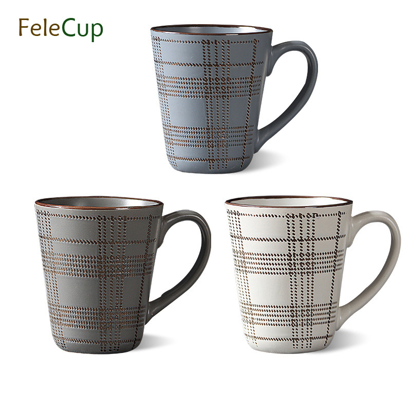 FeleCup Ceramic Coffee Mug Coffee Cup Line Stripe Mugs and Cups Vintage Tumbler Europe Style ...