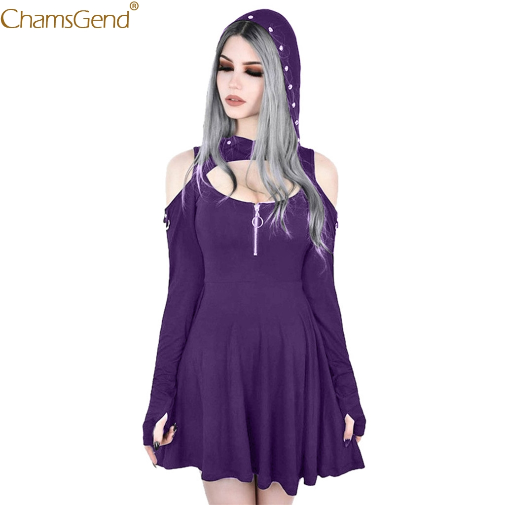 Womens Dresses Summer Casual Gothic Club Pure Color Hooded Low Cut Long Sleeve Cold Shoulder Zipper Mini Dress