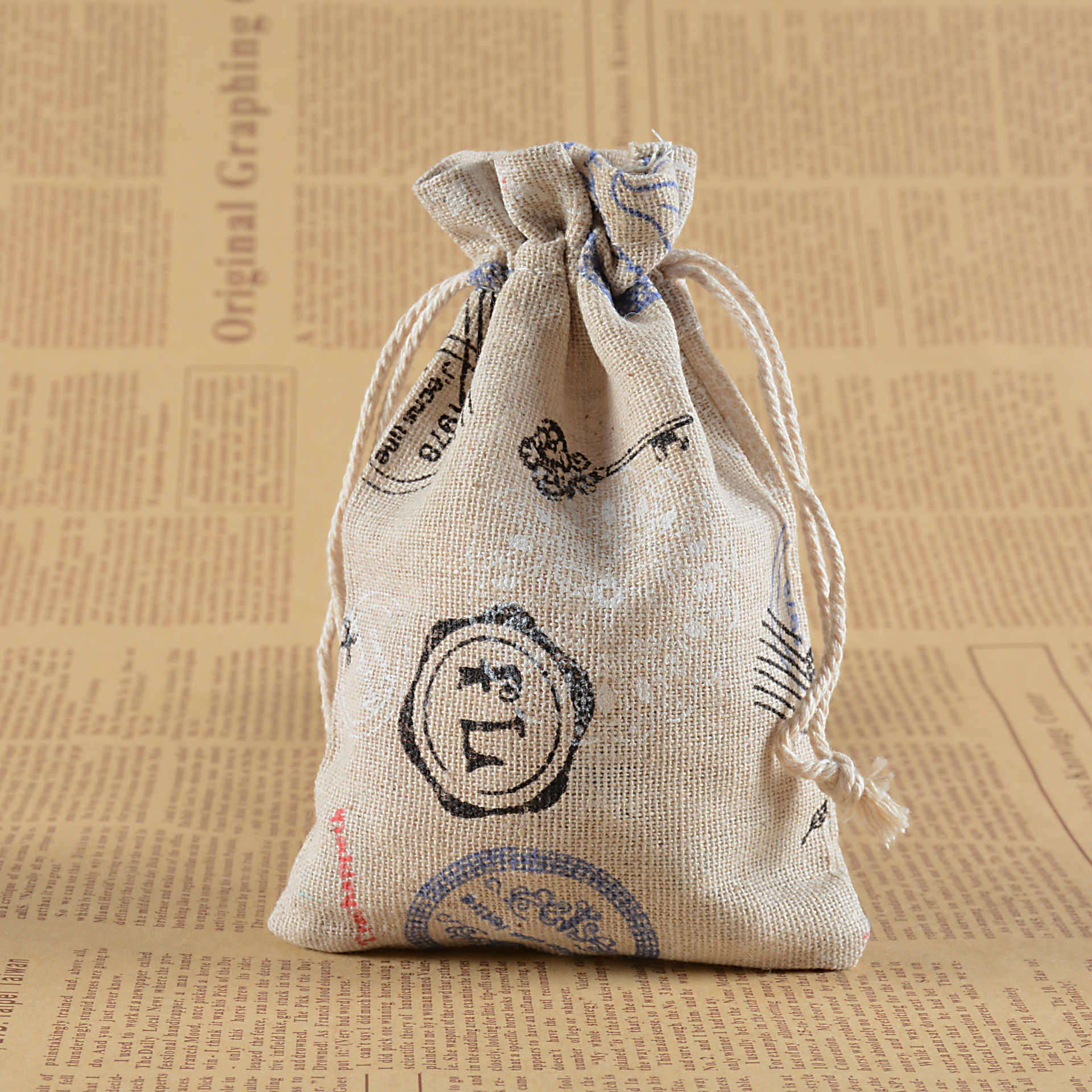 Us 4 17 13 Off 10pcs Cotton Drawstring Jewelry Gift Bags Printing Sachets Linen Rope Pocket Package Box Decoration Supply In
