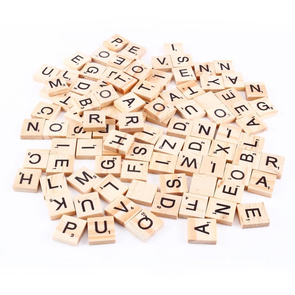 Aliexpress Buy 100pcs Wooden Alphabet Scrabble Tiles