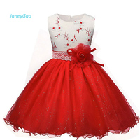 JaneyGao 2018 Flower Girl Dress For Wedding Party Baby Girl Formal Wear Sleeveless Embroidery With Bow Red And White Pageant Hot