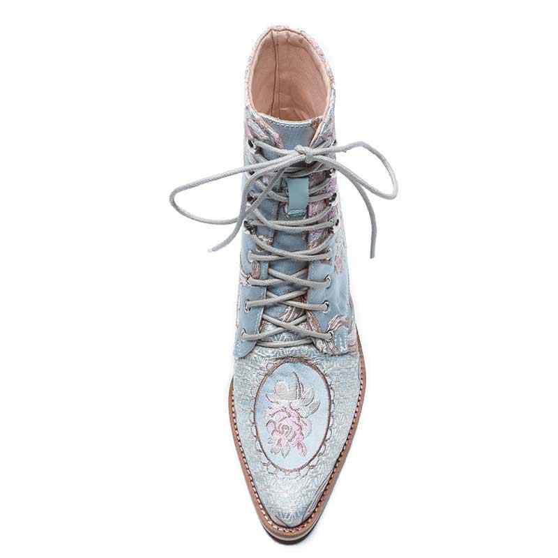 ผู้หญิงลำลอง Stacked รองเท้าส้นสูงเย็บปักถักร้อยดอกไม้ Lace Up รองเท้าข้อเท้ารองเท้าหญิงสุภาพสตรี Booties ข้อเท้าผ้าไหมซาตินรองเท้า Boot