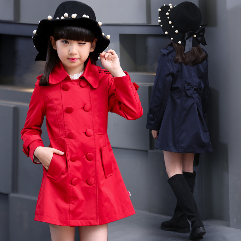 049845ac2fc8 Kids clothes for girl 6 14 year baby Tong windbreaker girls autumn color  brand coat children girl double breasted coat 2618b-in Trench from Mother    Kids on ...