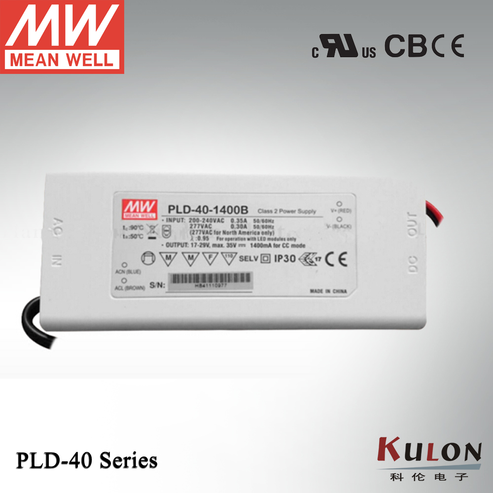 Original Meanwell power supply PLD-40-1400B 40W 1400mA constant current PFC function for Indoor led lighting genuine meanwell 40w pld 40 350b 40w 350ma led power supply constant current ip42 pfc function for indoor led lighting