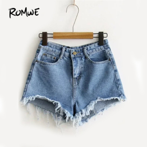 ROMWE Blue Ripped Hem Denim Shorts Women Summer Fashion Straight Leg Button Fly Shorts Streetwear Twin Pockets Shorts