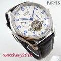 43mm parnis Quadrante bianco Blu Marks Day Date mens orologi top brand di lusso della cinghia di cuoio degli uomini di Movimento Automatico orologio