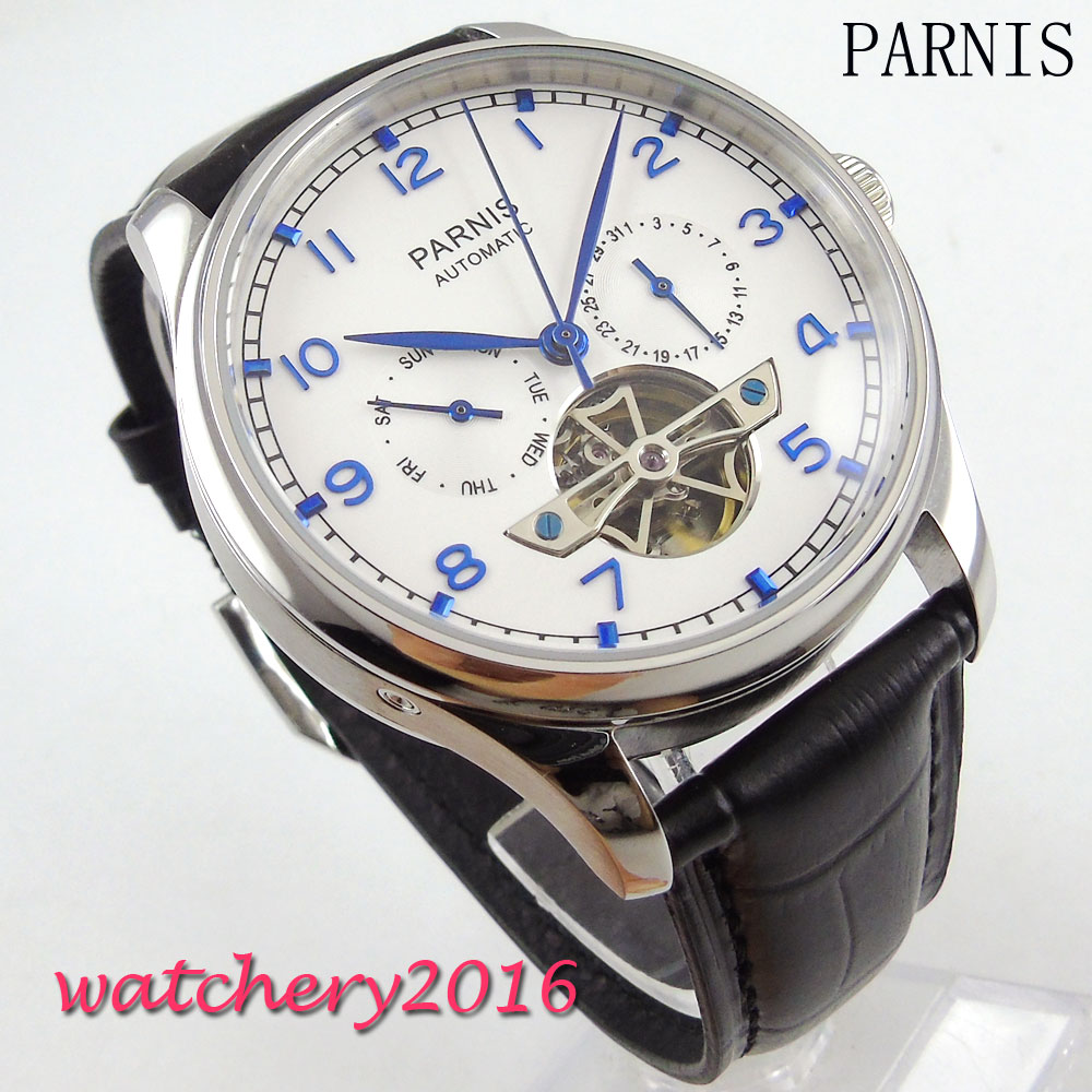 43mm parnis white Dial Blue Marks Day Date mens watches top brand luxury leather strap Men's Automatic Movement Watch 40mm parnis white dial vintage automatic movement mens watch p25