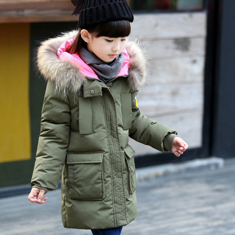 Children Down Jackets Boy Girl Long Style with Thick White Duck Down Jacket Down Coats To Keep Warm Coat of The Girls Overcoat fashion girls winter white duck down jackets and coats children faux fur hooded long coat kids girl thick warm jacket 2017
