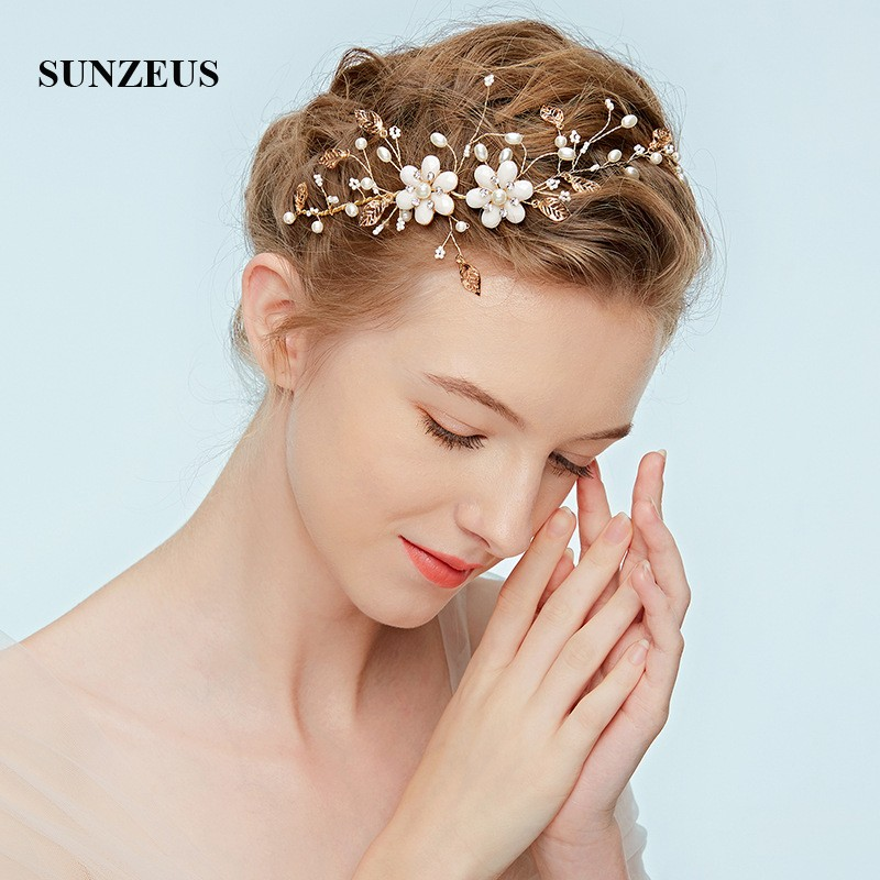 Pearls Flower Elegant Wedding Headband 2018 Newly Gold Leaves Hair Accessories Bridesmaid Hair Decoration SHA44