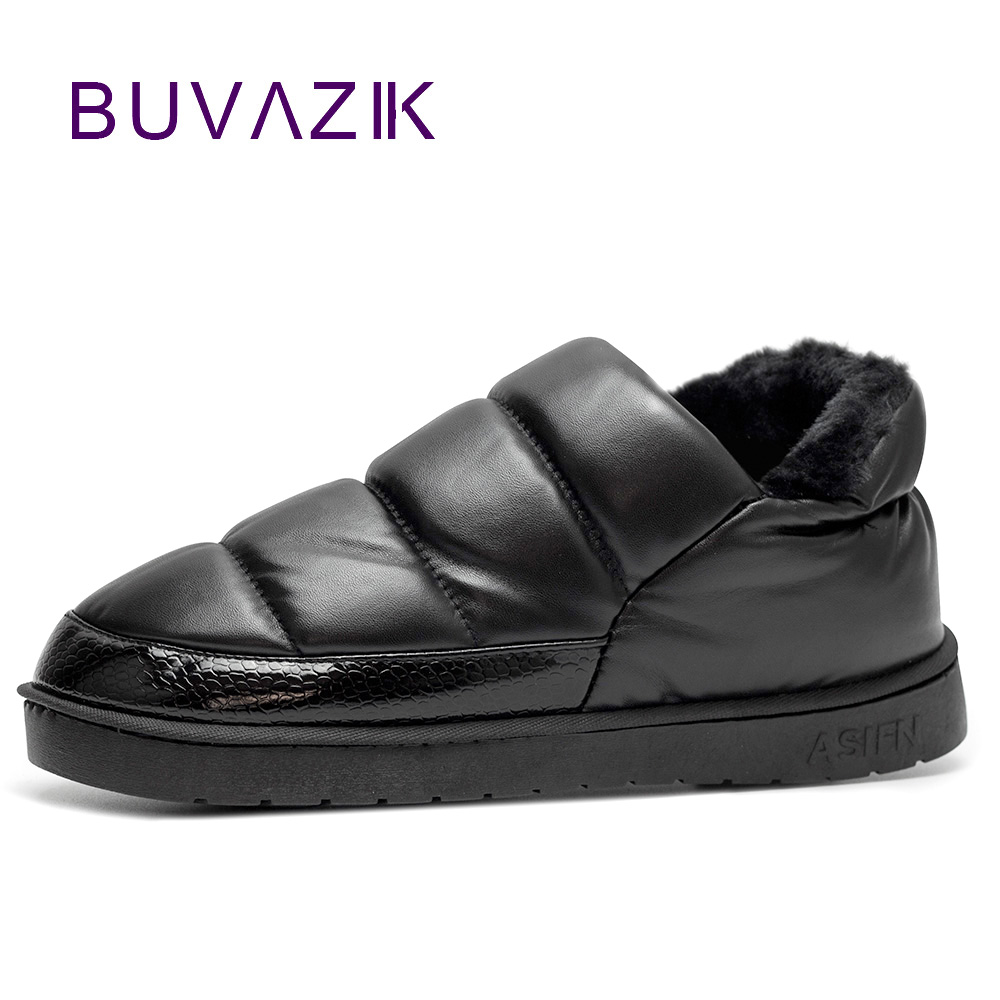 Nový přívod nepromokavé ženy PU kožené sněhové boty teplé krátké plyšové kotníkové boty samice zimní boty žena velká velká velikost 41 45